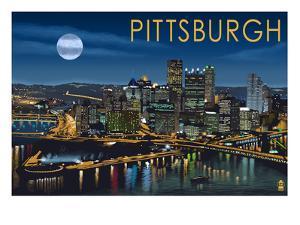 Pittsburgh, Pennsylvania - Skyline at Night by Lantern Press