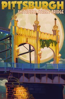 Pittsburgh, Pennsylvania - Smithfield St. Bridge and Moon by Lantern Press