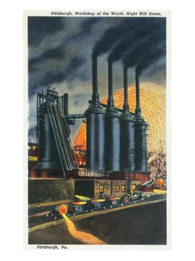 Pittsburgh, Pennsylvania - Steel Mill Scene at Night by Lantern Press