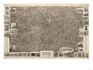 Plainfield, New Jersey - Panoramic Map by Lantern Press