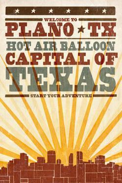 Plano, Texas - Skyline and Sunburst Screenprint Style by Lantern Press