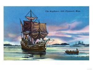 Plymouth, Massachusetts - The Mayflower Landing in 1620 Scene by Lantern Press