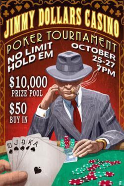 Poker Tournament - Vintage Sign by Lantern Press