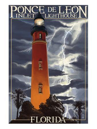 Ponce De Leon Inlet Lighthouse, Florida - Lightning at Night by Lantern Press
