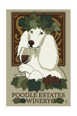 Poodle - Retro Winery Ad by Lantern Press