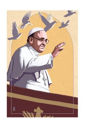 Pope and Doves - Lithography Style by Lantern Press