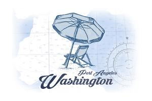 Port Angeles, Washington - Beach Chair and Umbrella - Blue - Coastal Icon by Lantern Press