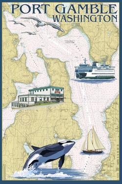 Port Gamble, Washington - Nautical Chart by Lantern Press
