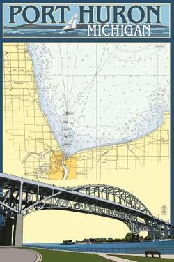 Port Huron, Michigan - Nautical Chart by Lantern Press