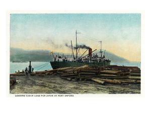 Port Orford, Oregon - Logging Ship Loading Cedar Logs for Japan by Lantern Press
