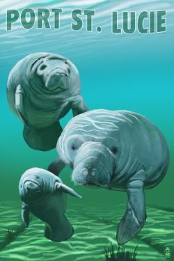 Port St. Lucie, Florida - Manatees by Lantern Press