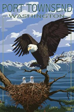 Port Townsend, Washington - Bald Eagle and Chicks by Lantern Press
