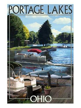 Portage Lakes, Ohio - Dock and Lake Scene by Lantern Press