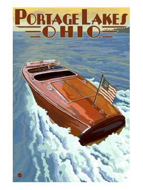 Portage Lakes, Ohio - Wooden Boat Scene by Lantern Press