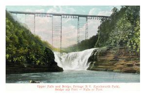 Portage, New York - Letchworth Park, View of Upper Falls and the Bridge by Lantern Press