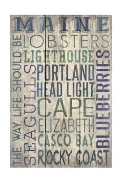Portland Head Lighthouse, Maine - Barnwood Typography by Lantern Press