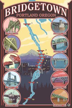 Portland, OR, Bridgetown Collage of Portland Bridges by Lantern Press
