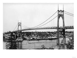 Portland, OR View of St. John Bridge over Columbia Photograph - Portland, OR by Lantern Press