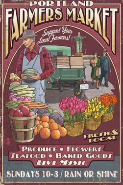 Portland, Oregon - Farmer's Market by Lantern Press