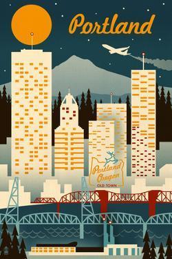 Portland, Oregon - Retro Skyline by Lantern Press