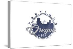 Portland, Oregon - Skyline Seal (Blue) by Lantern Press