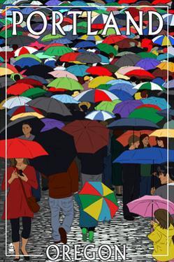Portland, Oregon - Umbrellas by Lantern Press