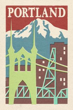 Portland, Oregon - Woodblock by Lantern Press