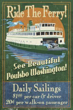 Poulsbo, Washington - Ferry Ride Vintage Sign by Lantern Press