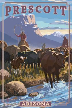 Prescott, Arizona - Cowboy Cattle Drive Scene by Lantern Press