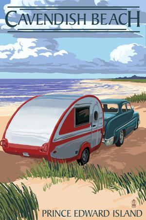 Prince Edward Island - Cavendish Beach and Camper by Lantern Press