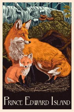Prince Edward Island - Fox and Kit Letterpress by Lantern Press