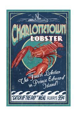 Prince Edward Island - Lobster Vintage Sign by Lantern Press