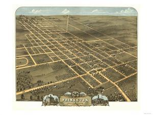Princeton, Illinois - Panoramic Map by Lantern Press
