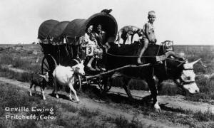 Pritchett, Colorado - Orville Ewing; Covered Wagon Scene by Lantern Press