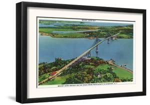 Providence, Rhode Island - Aerial View of Mount Hope Bridge and Mount Hope Bay, c.1940 by Lantern Press