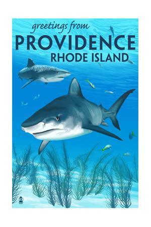 Providence, Rhode Island - Tiger Shark by Lantern Press