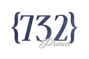 Pt. Pleasant Beach, New Jersey - 732 Area Code (Blue) by Lantern Press