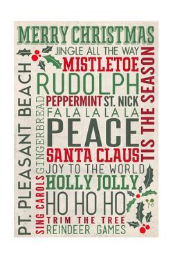 Pt. Pleasant Beach, New Jersey - Christmas Typography by Lantern Press