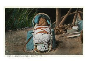 Pueblo Indian Baby Snug as a Bug in a Rug in his Papoose by Lantern Press