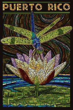Puerto Rico - Dragonfly Mosaic by Lantern Press