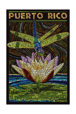 Puerto Rico - Dragonfly Mosaic by Lantern Press