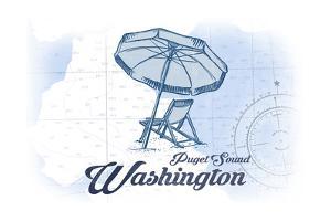 Puget Sound, Washington - Beach Chair and Umbrella - Blue - Coastal Icon by Lantern Press