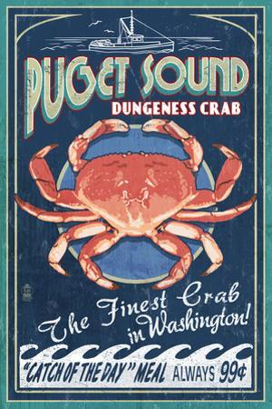 Puget Sound, Washington - Dungeness Crab Vintage Sign by Lantern Press