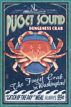 Puget Sound, Washington - Dungeness Crab Vintage Sign by Lantern Press
