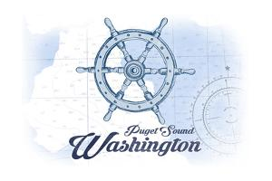 Puget Sound, Washington - Ship Wheel - Blue - Coastal Icon by Lantern Press