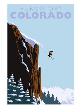 Purgatory, Colorado - Skier Jumping by Lantern Press