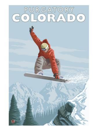 Purgatory, Colorado - Snowboarder Jumping by Lantern Press