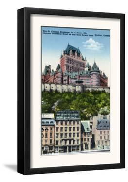 Quebec, Canada, Exterior View of the Chateau Frontenac from Lower Town by Lantern Press