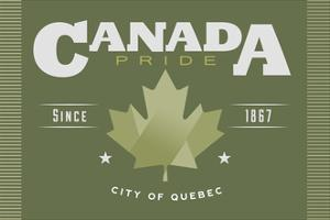 Quebec, Canada Pride - Green Maple Leaf Typography by Lantern Press