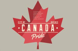 Quebec, Canada Pride - Red Maple Leaf Typography by Lantern Press